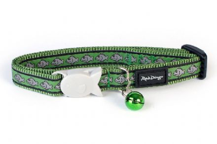 Red Dingo Cat Collar Reflective Green